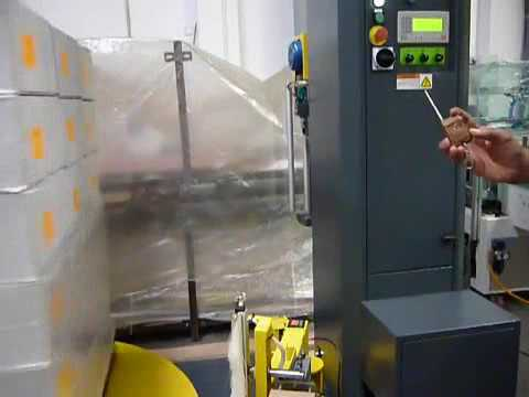 A 300 automatic pallet wrapper and wrapping machine with film cutting