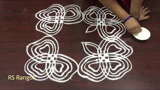 simple flower padi kolam for Margazhi muggulu || New Dhanurmasam muggulu