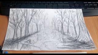 осенний пейзаж карандашом. Любой сможет нарисовать!