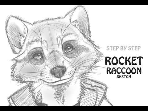 how to draw rocket raccoon guardians of the galaxy youtube