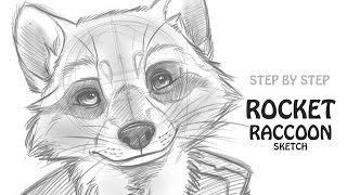 How to draw Rocket Raccoon: Guardians of the Galaxy