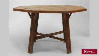 Antique American Rustic Old Hickory Dining Table With Oak