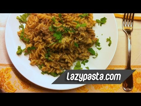 Whole wheat fusilli with beef mince Stroganoff and cauliflower | easy pasta recipes by Lazy Pasta