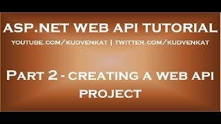 Creating a Web API Project