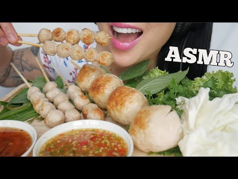 ASMR THAI STREET FOOD *GIANT FISH BALLS (EATING SOUNDS) NO TALKING   SAS-ASMR