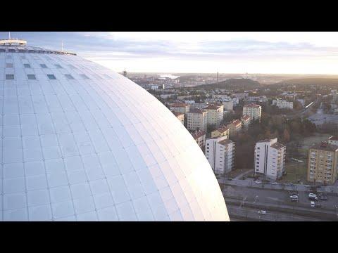 2561. Globen (Stockholm Globe Arena) Drone Stock Footage Video