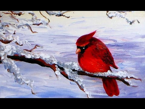 How to Paint a Cardinal Bird in Acrylics Easy Tutorial