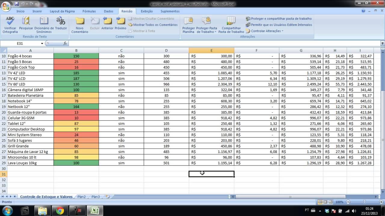 Explicação do Exercício de Excel Básico - CAP UNISUAM