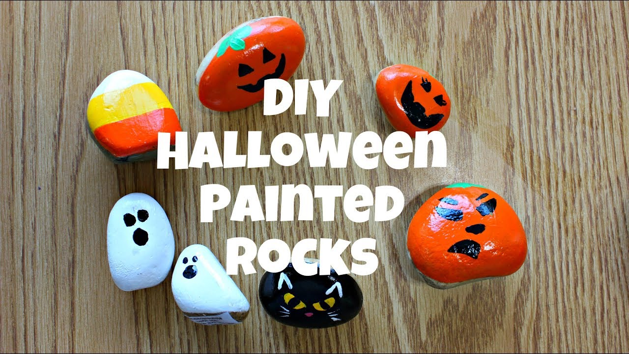 I tried a sample by painting several layers of latex paint and heating with a strong. Diy Halloween Painted Rocks Hidden Rock Game Easy Rock Painting Youtube