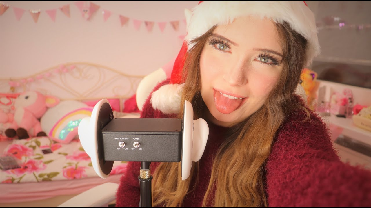 ASMR - Christmas Gentle Ear eating and licking your ears (No talking)   Lealolly
