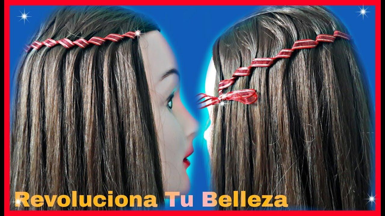 Trenza De Cascada Con Liston / Trenzas Faciles /Waterfall Braid / Peinados Paso A Paso YouTube