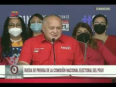 Diosdado Cabello en rueda de prensa de la Comisión Electoral del PSUV este 27 de agosto de 2021