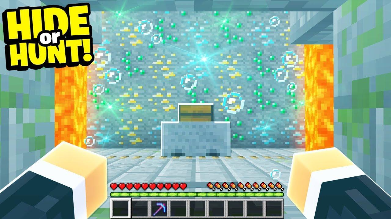 Download finding a SECRET Minecraft base filled with ORES! - Hide Or Hunt #2