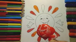 COLORING The sun Play and PAINT  Flying fish Yellow Orange Cherry