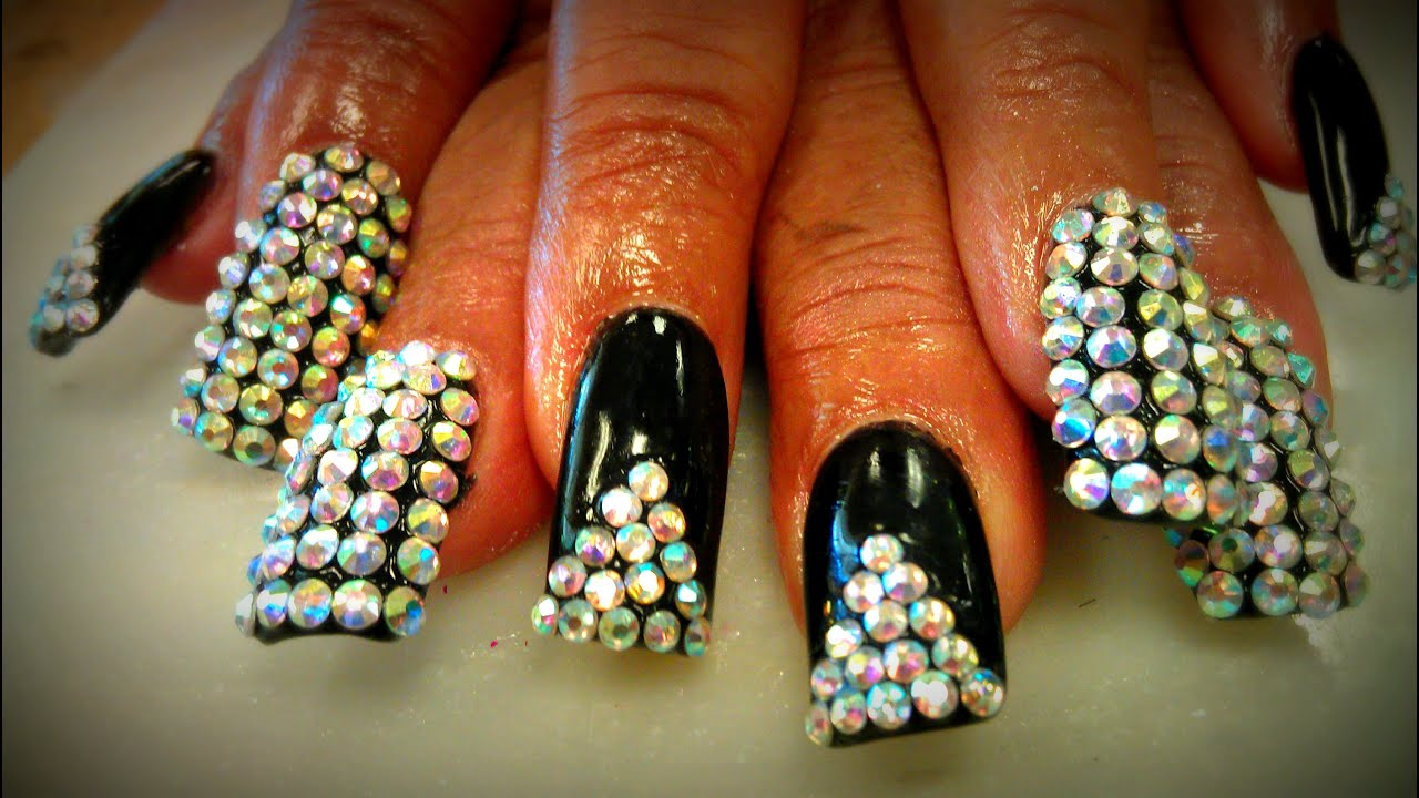 DIAMOND CRYSTAL BLING BLING NAIL TUTORIALS - YouTube