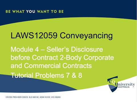 LAWS 12059 Conveyancing Topic 4 Seller Disclosure before Contract 2 Tutorial Problems 7 & 8