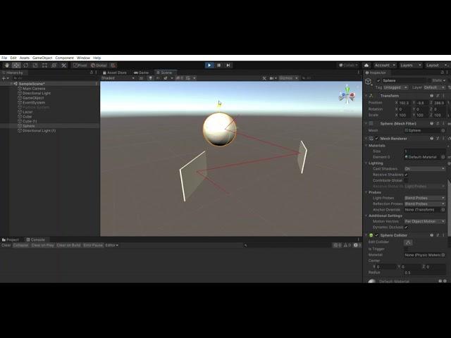 Unity Ray ile Cisimlerden Yansıyan Lazer Yapımı