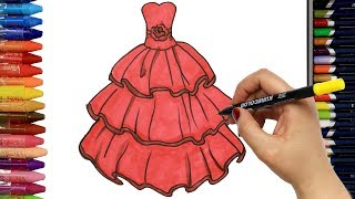Wie zeichnet man Rotes Kleid   Ausmalen Kinder   Kindervideos   Malen und Zeichnen für Kinder