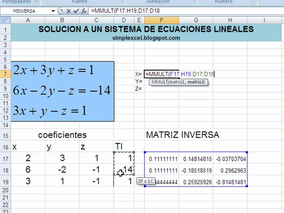 Simplexcel - Solucion ecuaciones lineales con matrices - YouTube