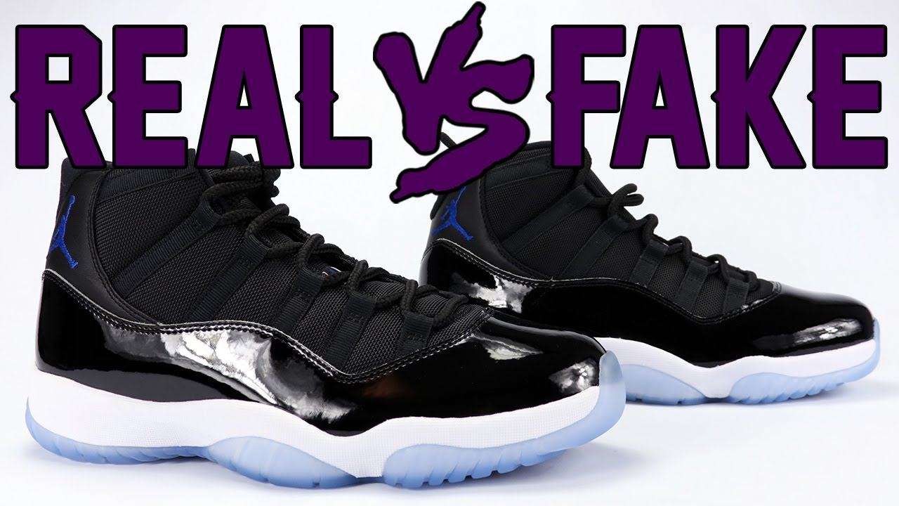 c3857fac5738 Real vs Fake Air Jordan 11 Space Jam 2016 Legit Check - YouTube