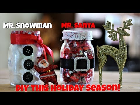 Quick DIY Christmas and New Year gifts ideas for friends - Mason Jar Santa and Snowman