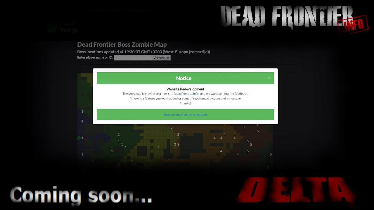 Dead frontier Boss map moves/website redevelopment - YouTube on