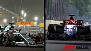 F1 2019 - FERRARI, REDBULL, RENAULT AND FORMULA 2 GAMEPLAY AND SOUND!!!