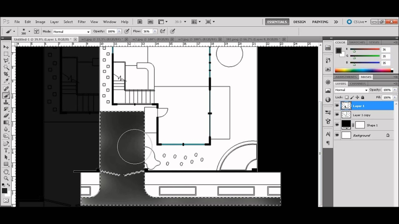 Floor plan rendering using photoshop tutorial youtube for Site plan rendering software
