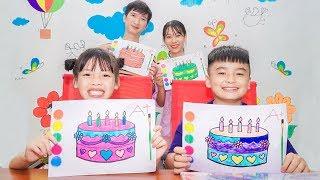 Rainbow Birthday Cake, Warna Warni Belajar Menggambar dan Me...