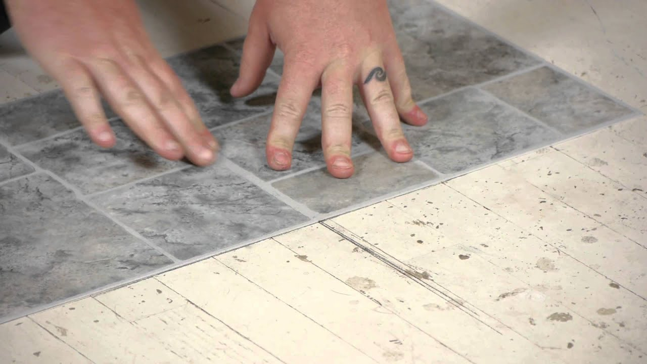 How to Lay Vinyl Tiles on Top of Old Flooring : Flooring Help - YouTube