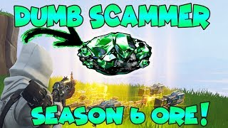Dumb Scammer Nearly Scams *NEW* SEASON 6 ORE!! (Scammer Gets Scammed) Fortnite Save The World