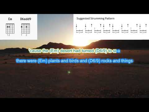 A Horse with no Name by America play along with scrolling guitar chords and lyrics