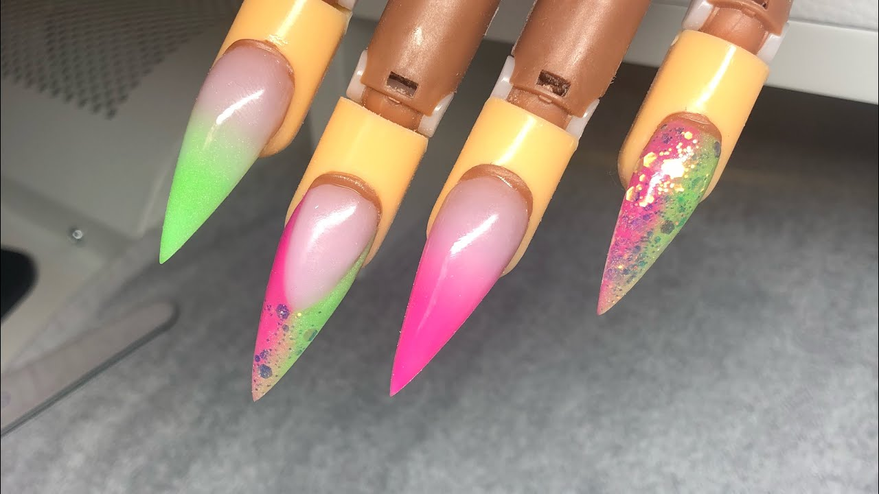 Acrylic nails, Lime green and pink nails design