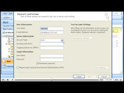 How to create an email account in Outlook 2007 - YouTube - create outlook account