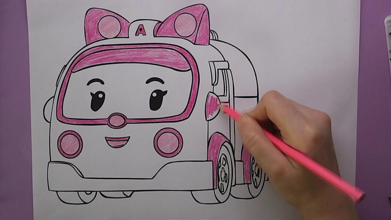 Robocar Poli Amber Robot Ambulans Boyama Coloring Robocar Poli
