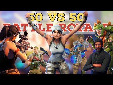 Playing Fortnite Solid Gold 50v50 & Completing Challenges (Fortnite Battle Royale)