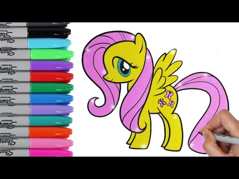 My Little Pony Coloring Book Pages Fluttershy MLP Video for Kids Art  Toy Caboodle