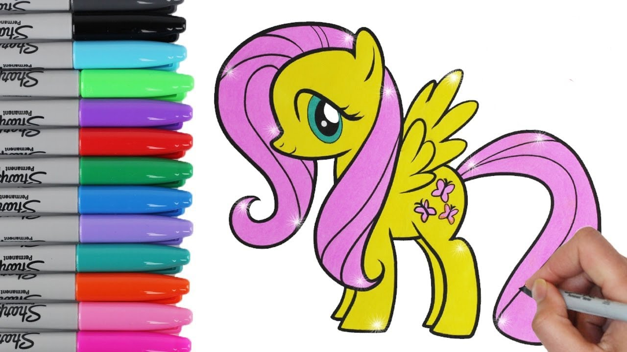 my little pony coloring book pages fluttershy mlp video for kids