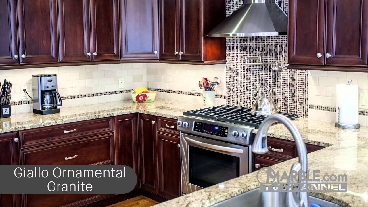 Top 5 Granites for Dark Cabinets - YouTube Black And Yellow Vintage Tile Kitchen Ideas on black kitchen tile, vintage yellow counter tops, vintage yellow ceramic floor tile, vintage bathrooms tile, art deco kitchen tile, purple kitchen tile, vintage yellow linoleum, gold kitchen tile, vintage yellow bathroom,