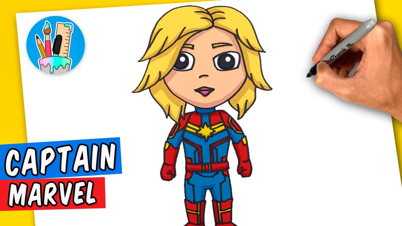 Como Dibujar A Capitana Marvel Facil Paso A Paso Youtube