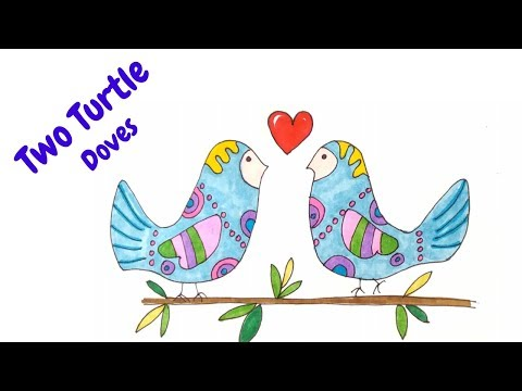 How To Draw Two Turtle Doves