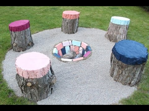 How To Create Colorful Seats From Tree Stumps Youtube