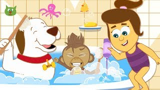 Bath Time Song: Morning Routine Funny Monkey Funny Dog Nursery Rhymes Kids Songs by HooplaKidz