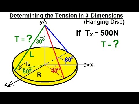 Mechanical Engineering: Particle Equilibrium (19 of 19) Determining Tension in 3-D of a Hanging Disc