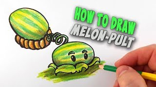 How To Draw Melon-pult from Plants vs. Zombies – Mr. Cute Cartoon Drawing Club