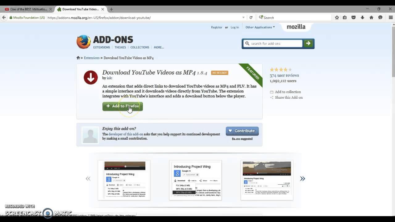 firefox addons youtube downloader