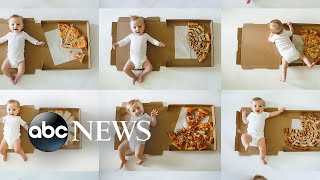 Genius mom uses pizza to mark her baby's monthly growth | GMA Digital
