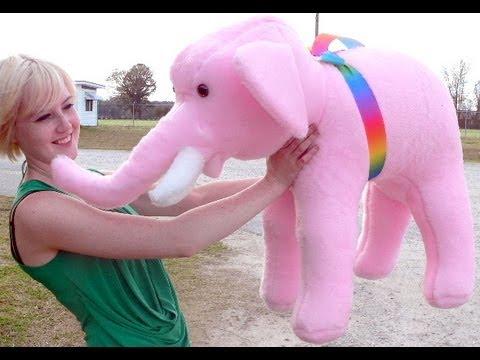 Big Plush Pink Elephant 3 Feet Long Stuffed Soft Custom Name Imprint