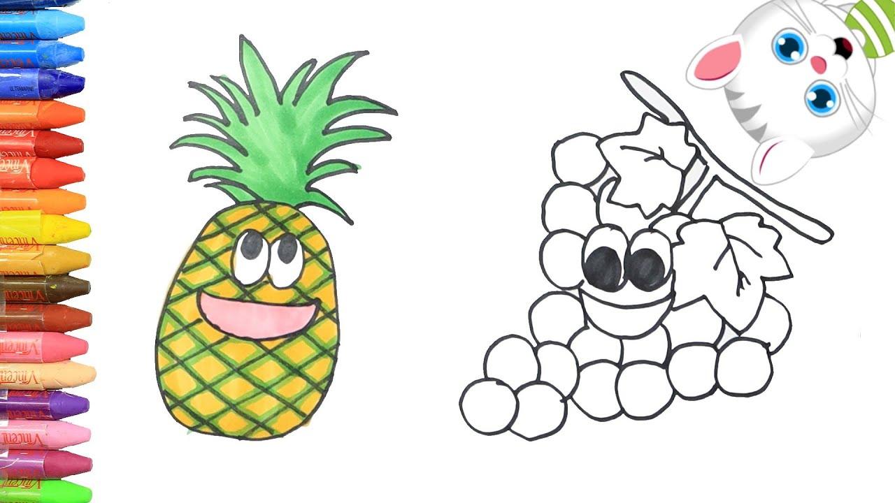 Cómo Dibujar Y Colorear Piña Y Uvas Dibujos Para Niños Con Mimi