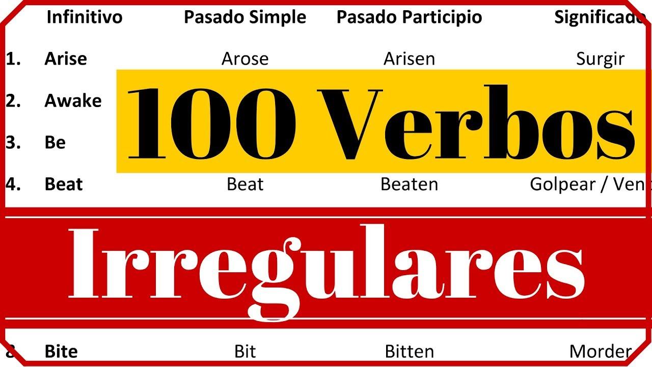 Lista de verbos irregulares en ingles presente pasado y gerundio